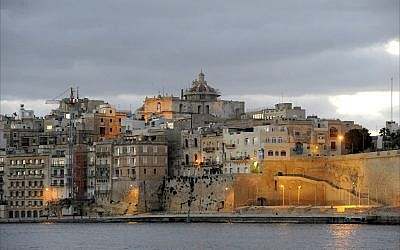 The skyline of Valletta, medieval capital of the Republic of Malta, at sunrise. (Larry Luxner/Times of Israel)