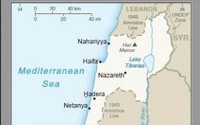 Part of a map published by the US on April 16, 2019, that for the first time shows the Golan Heights as Israeli territory. (screencapture)