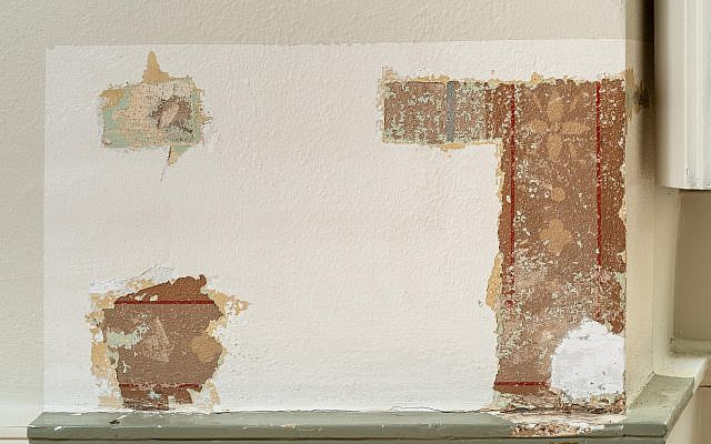19th century murals that had remained concealed under several coats of paint discovered during preparations for the reopening of Stockholm's Jewish museum at what used to be the Tyska Brunnsplan Synagogue (Jean-Baptiste Béranger/ Jewish Museum of Stokholm)