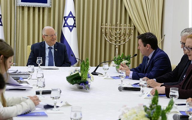 Members of the Yisrael Beytenu party meet with President Reuven Rivlin at the President's Residence in Jerusalem on April 16, 2019. (Mark Neiman/GPO)