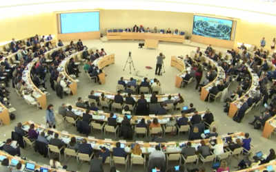 The UN Human Rights Council in Geneval discusses a resolution condemning Israeli actions on the Golan Heights, March 22, 2019 (screen shot UN WebTV)