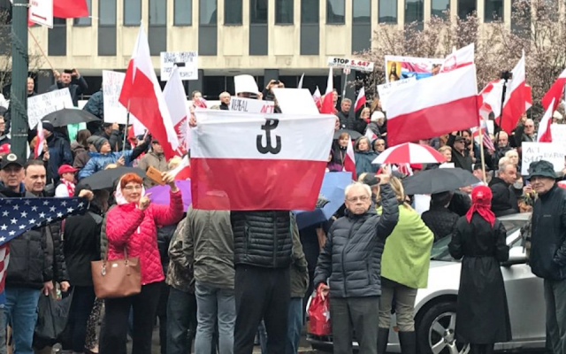 Polish nationalists holding a protest in New York's Foley Square against a Holocaust restitution law, March 31, 2019. (Molly Crabapple via JTA)