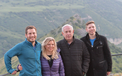 (From L-R) Avner, Sara, Benjamin and Yair Netanyahu tour the Golan Heights on April 23, 2019. (PMO)