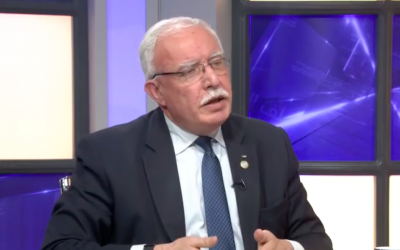 Palestinian Authority Foreign Minister Riyad al-Malki speaking to Palestine TV, the official PA channel, on April 23, 2019. (Screenshot: Palestine TV)