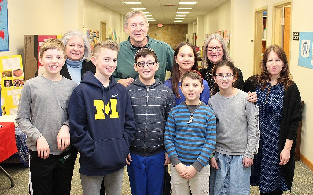 Shari Jacobs (R) with fifth- and sixth-grade students and instructors at Hillel Academy of Greater Dayton. (Marshall Weiss)