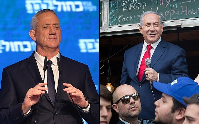 Blue and White head Benny Gantz, left, and Prime Minister Benjamin Netanyahu, right. (Noam Revkin Fenton, Yonatan Sindel/Flash90)