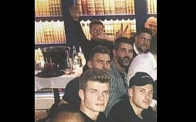 A screenshot of an image posted to Instagram and then deleted by Max Meyer that appears to show Crystal Palace goalkeeper Wayne Hennessey (back left) making a Nazi salute. (Screenshot/Instagram)
