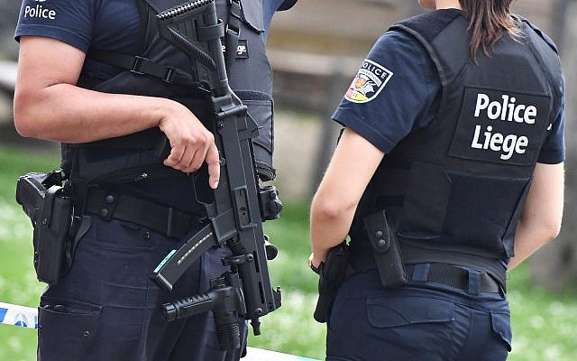 Illustrative: Belgian police in the city of Liege, May 29, 2018. (AP Photo/Geert Vanden Wijngaert)