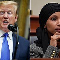 President Donald Trump, left, and Ilhan Omar, right. (Evan Vucci/Susan Walsh/AP)