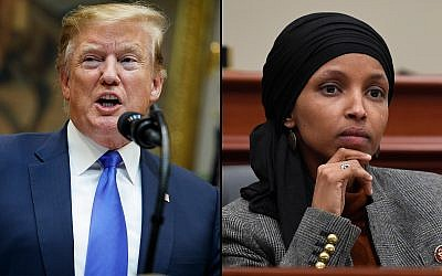 President Donald Trump, left, and Ilhan Omar, right. (Evan Vucci/Susan Walsh/AP)