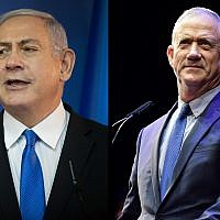 Prime Minister Benjamin Netanyahu, left, and Benny Gantz, right. (Hadas Parush/Tomer Neuberg/Flash90)