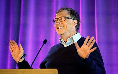 Microsoft cofounder Bill Gates speaks at the University of Washington in Seattle, February 28, 2019. (AP/Elaine Thompson)