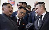 Russian President Vladimir Putin, right, and North Korea's leader Kim Jong Un, left take an escalator leaving a hall after talks in Vladivostok, Russia, April 25, 2019. (Alexei Nikolsky, Sputnik, Kremlin Pool Photo via AP)