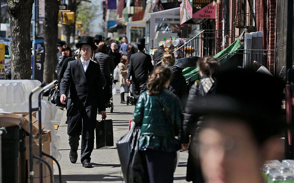 Illustrative: Orthodox Jews in Brooklyn, New York, April 17, 2019. (AP Photo/Seth Wenig)