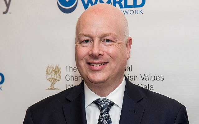 Jason Greenblatt attends the Champions of Jewish Values International Awards gala at Carnegie Hall in New York, March 28, 2019. (Charles Sykes/Invision/AP)