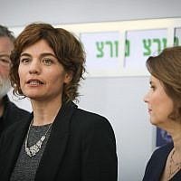 Tamar Zandberg, head of the Meretz party, holds a press conference after meeting with President Reuven Rivlin in Jerusalem, April 16, 2019. (Noam Revkin Fenton/Flash90)