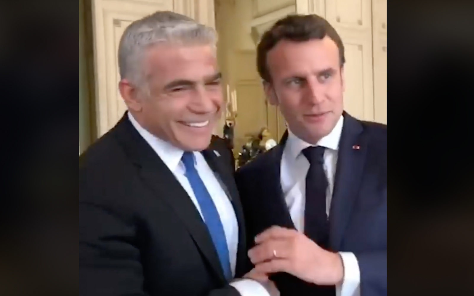 Emmanuel Macron Meets With Yair Lapid Four Days Before Israeli Elections The Times Of Israel