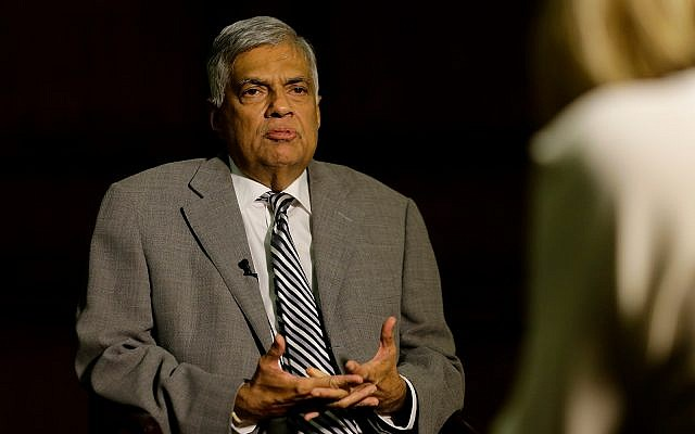 Sri Lankan Prime Minister Ranil Wickremesinghe at his office in Colombo, Sri Lanka, April 25, 2019. (AP Photo/Eranga Jayawardena)
