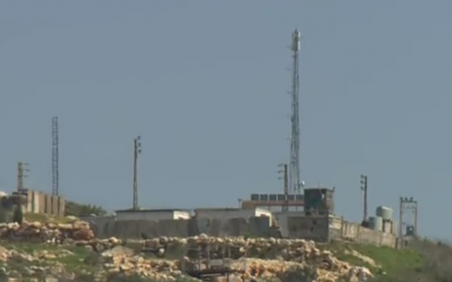 An antenna put up by the Hezbollah terror group in southern Lebanon in early 2019. (Screenshot: Channel 12)