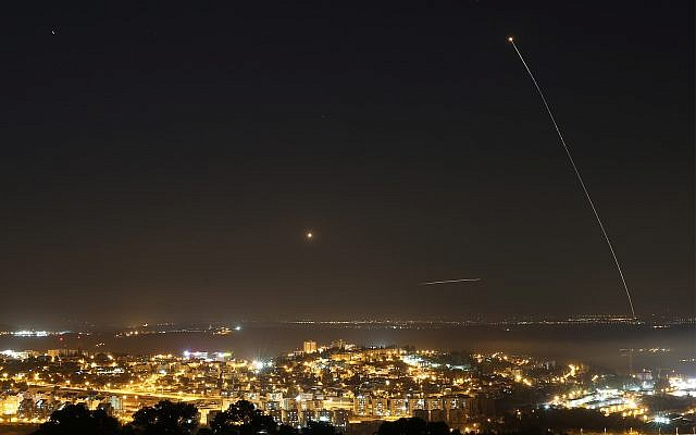 Illustrative: a rocket fired from Gaza over Israel, July 09, 2014. (Nati Shohat/Flash90)
