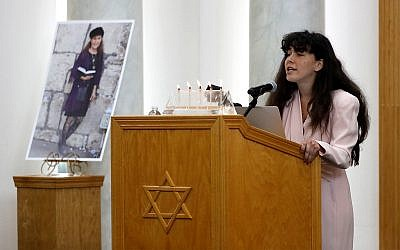 Lori Gilbert-Kaye's daugher, Hannah, speaks at her funeral, April 29, 2019. (AP Photo/Gregory Bull)