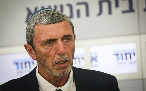 Rafi Peretz, head of the Union of Right-Wing Parties, holds a press conference after meeting with President Reuven Rivlin  in Jerusalem, April 16, 2019. (Noam Revkin Fenton/Flash90)