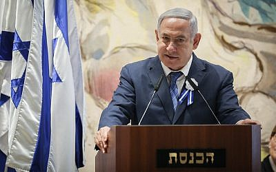 Prime Minister Benjamin Netanyahu speaks to lawmakers at the Knesset swearing-in ceremony on April 30, 2019 (Noam Revkin Fenton/Flash90)
