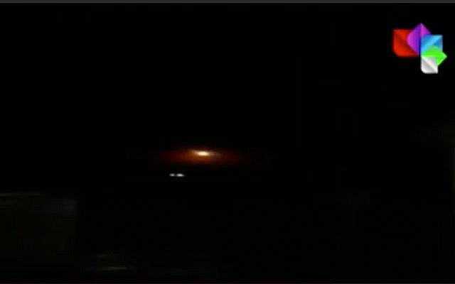 This screenshot from a video released by Syria's official news agency SANA allegedly shows Syrian air defenses firing on Israeli missiles in the province of Hama, April 13, 2019. (YouTube screenshot)