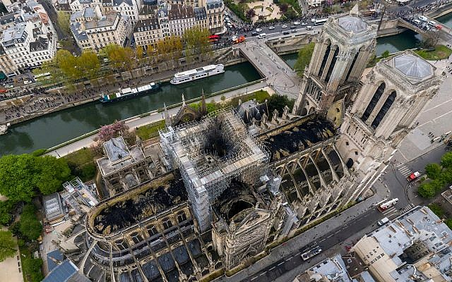 Fire damage to Notre Dame Cathedral in Paris, April 16, 2019. (Gigarama.ru via AP)