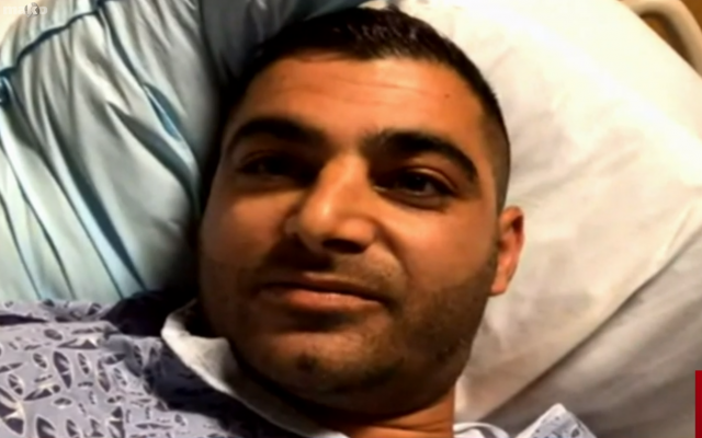 Almog Peretz, an Israeli man injured in a shooting at a US Chabad synagogue in Poway, California on April 27, 2019. (Screenshot: Channel 12)