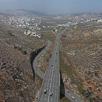 Digital plan for the Hawara bypass route (upper road) in the northern West Bank. (Yesha Council)