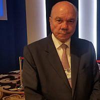 Jordanian Senate Speaker Faisal al-Fayez on the sidelines of the World Economic Forum at the Dead Sea on March 6, 2019. (Adam Rasgon/Times of Israel)