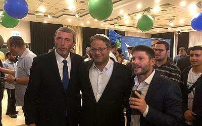 Union of Right Wing Parties candidates (from L-R) Rafi Peretz, Itamar Ben Gvir and Bezalel Smotich pose for a photo on April 9, 2019. (Courtesy)
