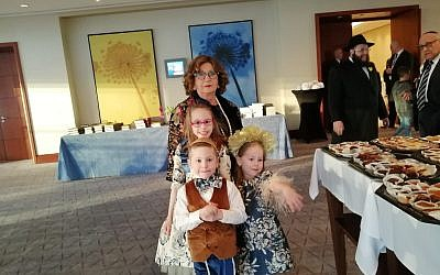 Attendees at the Warsaw Hilton, April 19, 2019. Hundreds gathered to celebrate the first seder in the former Warsaw Ghetto since it was razed in 1943. (Courtesy Chabad of Warsaw)