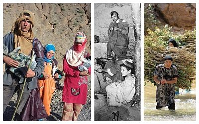 From left: Villagers from Agoudal with gear purchased with money raised by the GoFundMe page managed by Martha Rettig and Denise Marie; A Jewish-Amazigh workshop in the Atlas mountains in the 1950s; Amazigh women cross a river bearing loads on their backs. (Courtesy)