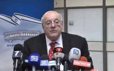 Central Elections Committee chief Justice Hanan Melcer speaks at the Knesset, April 11, 2019 (screenshot)