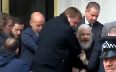 Wikileaks founder Julian Assange is arrested at the Ecuadorian embassy in London, April 11, 2019 (Screen grab via Sky News)