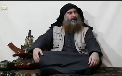 Islamic State group leader Abu Bakr al-Baghdadi appearing for the first time in five years in a propaganda video released April 29, 2019. (YouTube screenshot)