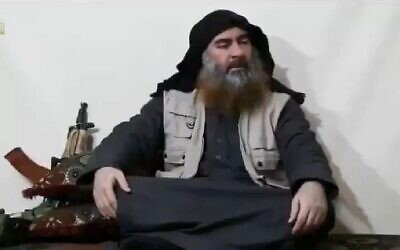 Islamic State group leader Abu Bakr al-Baghdadi, appearing for the first time in five years, in a propaganda video released April 29, 2019. (YouTube screenshot)