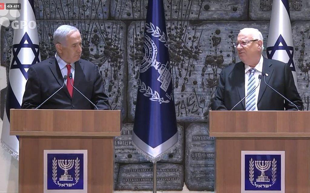 Prime Minister Benjamin Netanyahu (left) and President Reuven Rivlin, April 17, 2019. (Courtesy, GPO)