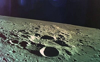 One of the last photos taken by Beresheet before it crash landed into the moon, on April 11, 2019. (Courtesy SpaceIL)