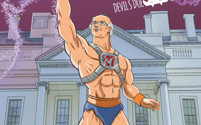 Vermont Senator Bernie Sanders as a super hero in new comic book (Josh Blaylock via JTA)