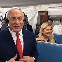 Prime Minister Benjamin Netanyahu calls a potential voter in a Facebook Live broadcast on April 9, 2019 (Screen grab via Facebook)