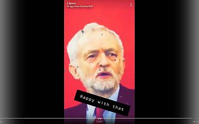 Twitter video screenshot showing bullet holes in poster of UK Labour Party leader Jeremy Corbyn allegedly used by soldiers for target practice. (Twitter screenshot)