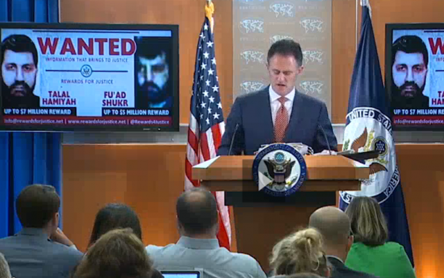 State Department Counterterrorism Coordinator Nathan Sales announcing rewards for the capture of two Hezbollah leaders during a press briefing, October 10, 2017. (Screenshot from C-Span)