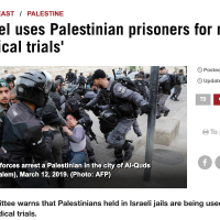 Screenshot of anti-Israel Hispan TV  falsely accusing Israel of experimenting on Palestinian prisoners(Screencapture via JTA)