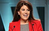 Monica Lewinsky speaks onstage during The Hollywood Reporter's Power 100 Women In Entertainment at Milk Studios in Los Angeles on December 5, 2018. (Jesse Grant/Getty Images via JTA)