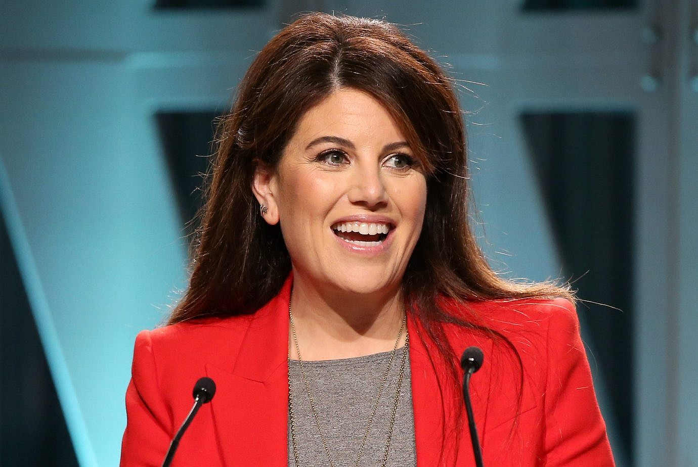 8f5057766b7116 Monica Lewinsky speaks onstage during The Hollywood Reporter's Power 100  Women In Entertainment at Milk Studios