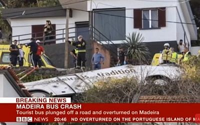 Scene of a bus crash in Madeira, where 28 passengers have been reported killed. April  17, 2019 (screen capture: YouTube)