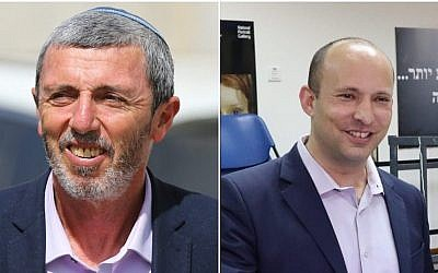 (L) URWP chairman Rafi Peretz seen outside a voting station in Sderot on April 9, 2019. (Flash90), (R) New Right co-chairman Naftali Bennett casts his ballot in Ra'anana on April 9, 2019. (Education Ministry)